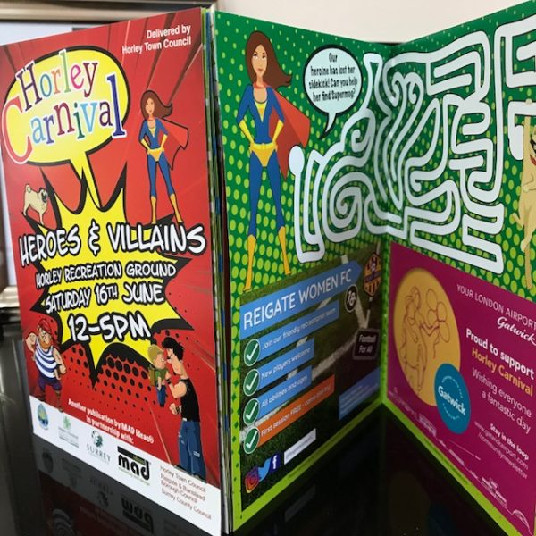 horley carnival booklet for community work and brochure graphic design