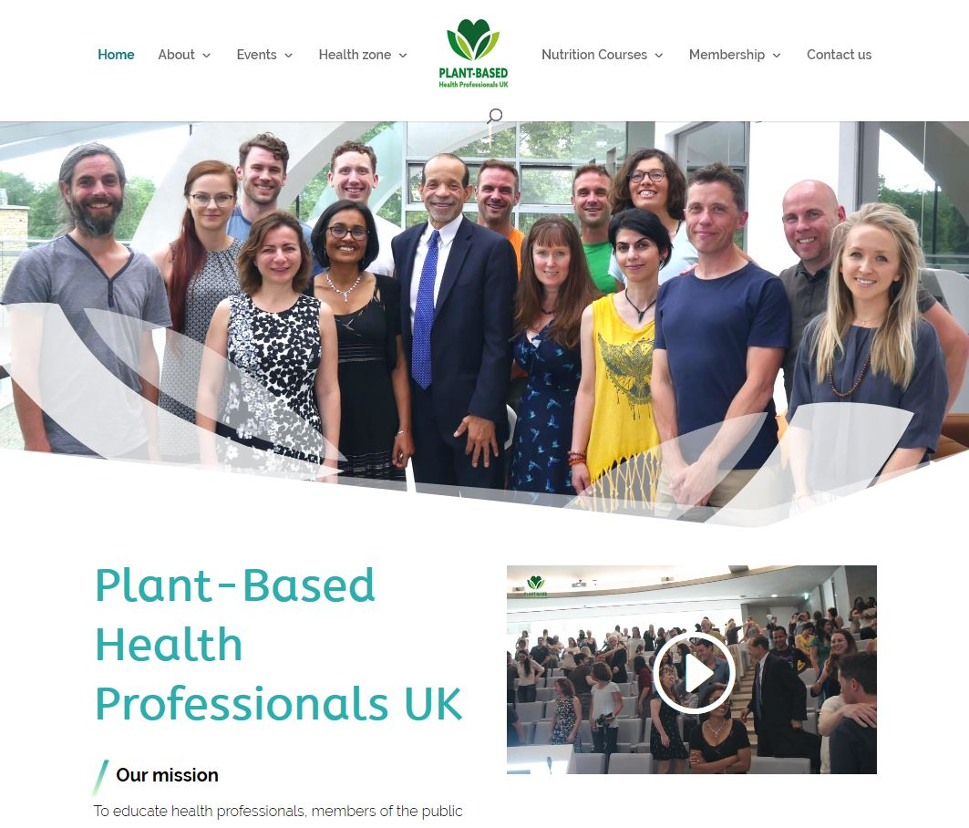 Website design by MAD Ideas for Plant Based Health Professionals UK